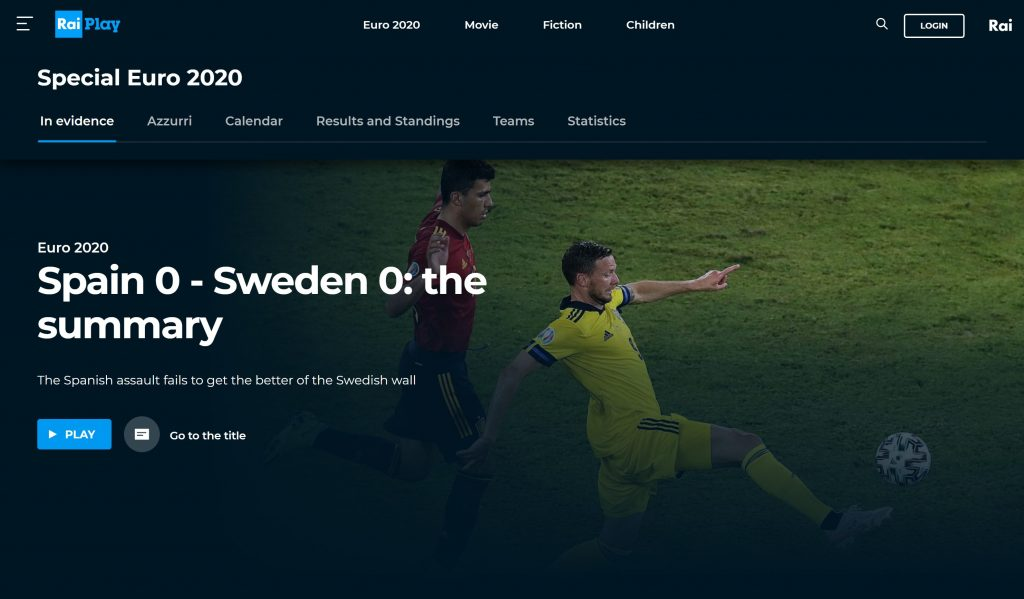 Raiplay euro 2020 live stream