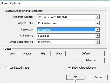 Skyrim failed to intialize- windows mode