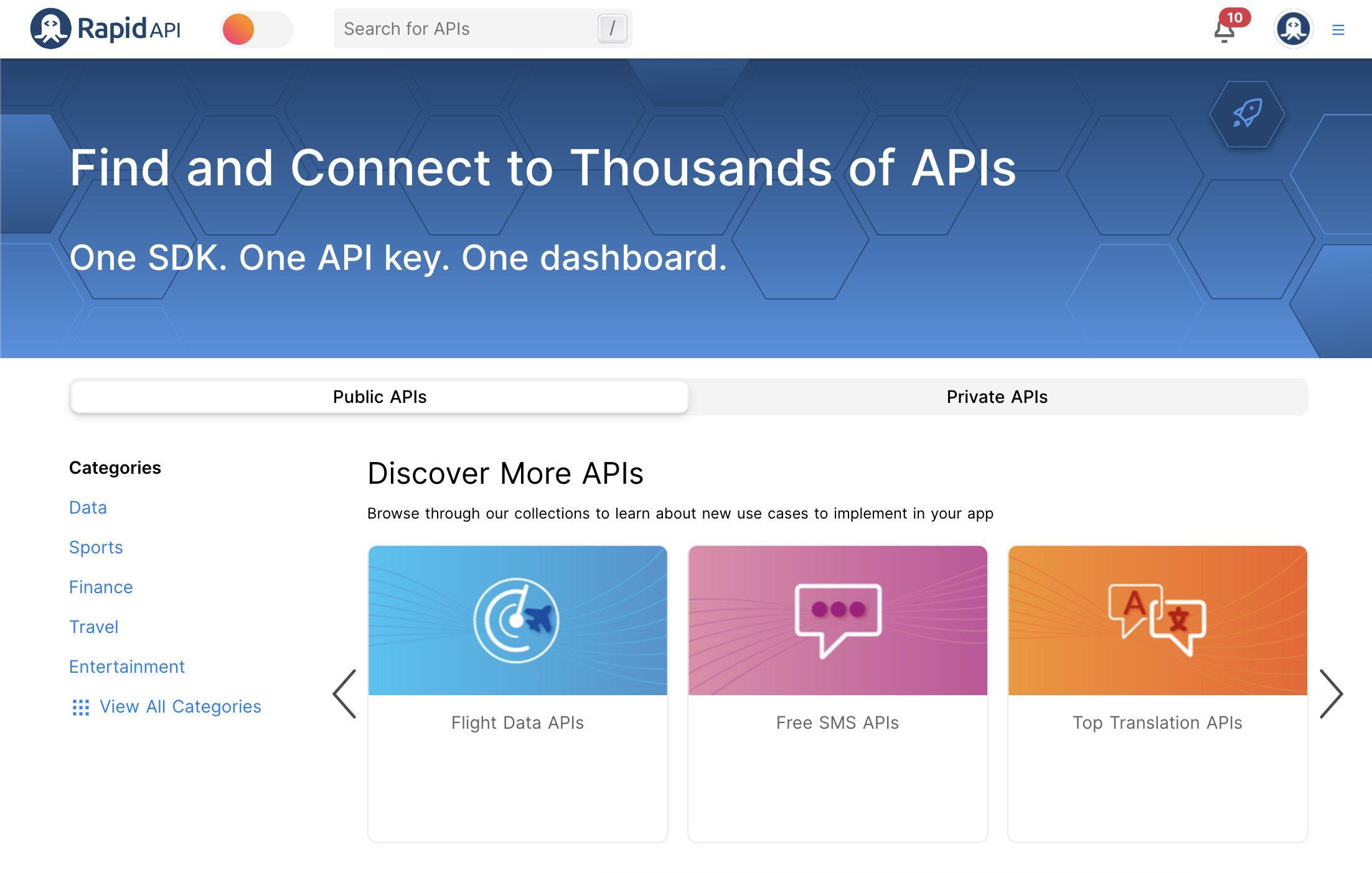 RapidAPI API Marketplace